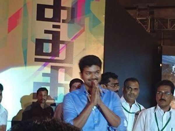 Vijay Greets Guests At Kaththi Audio Release
