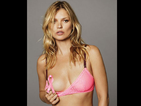 Kate Moss Poses In Pink Lingerie To Raise Breast Cancer Awareness