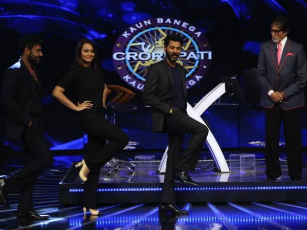 Big B Shoots KBC Grand Finale With Action Jackson's Ajay, Sonakshi!