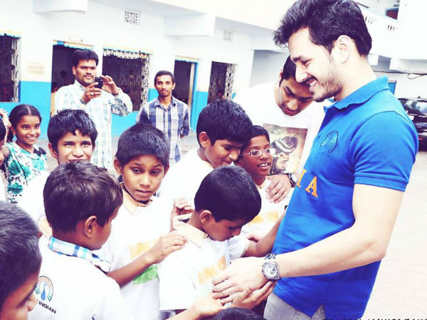 Akkineni Akhil Distributes Clothes To Blind Children