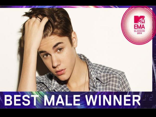 Justin Bieber Wins His 5th MTV EMA 'Best Male' Award!