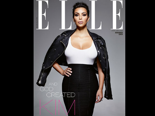 Kim Kardashian Shows Her Fab Figure On Elle's 3 Covers!