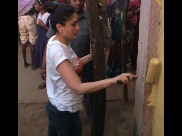 Kareena Kapoor Caught Painting The Sets Of Bajrangi Bhaijaan