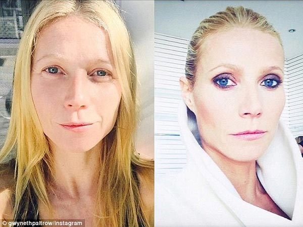 Gwyneth Paltrow Shares Without & With Make-up Pic