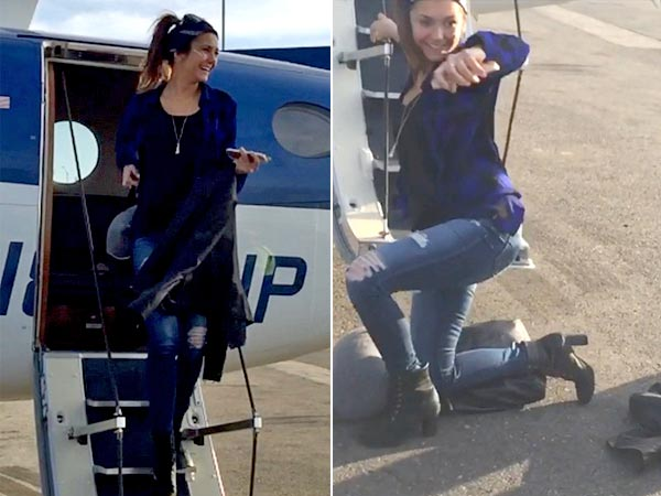 Nina Dobrev Trips And Falls While Exiting From A Plane