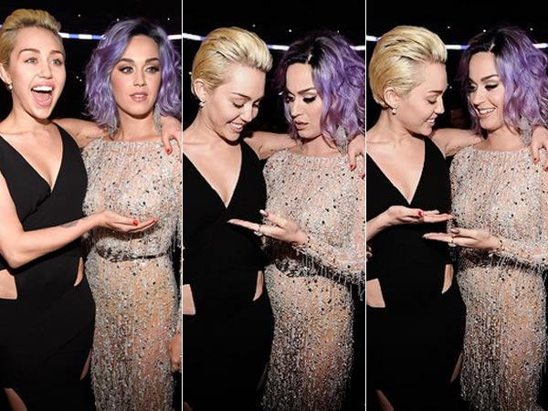 Miley Cyrus Feels Katy Perry's Breast At Grammys