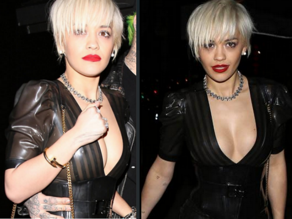 Rita Ora Goes Braless, Ends Up Showing Assets!