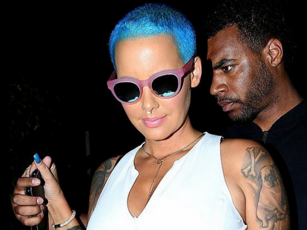 Amber Rose Colours Her Platinum Blonde Hair Blue