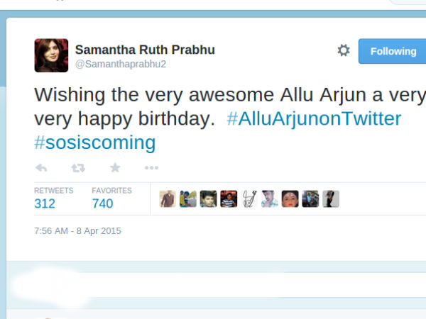 Samantha Wishes Allu Arjun