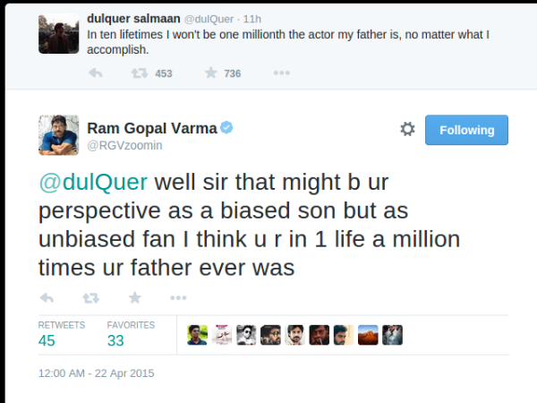 Ram Gopal Tweets To Dulquer
