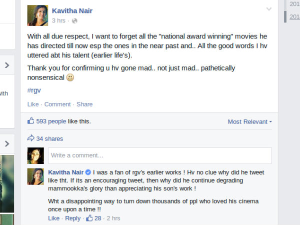 Kavitha Nair's Facebook Post
