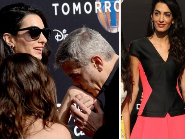 George Clooney Kisses Amal At Tomorrowland Premiere