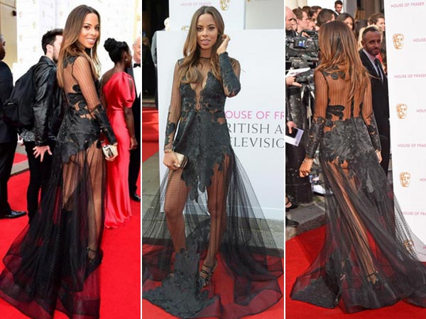 TV BAFTA Awards: Rochelle Humes Flashes Butt In A Sheer Gown