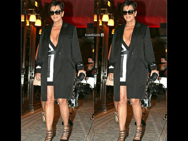 Kris Jenner Paris Style Is Bold! Bares It In A Plunging Neckline Dress