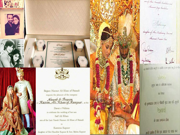 Pictures Leaked Wedding Cards Of Shahid Aishwarya Kareena Other Bollywood Celebs Filmibeat