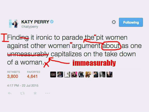 Katy Perry Grammar Tweet