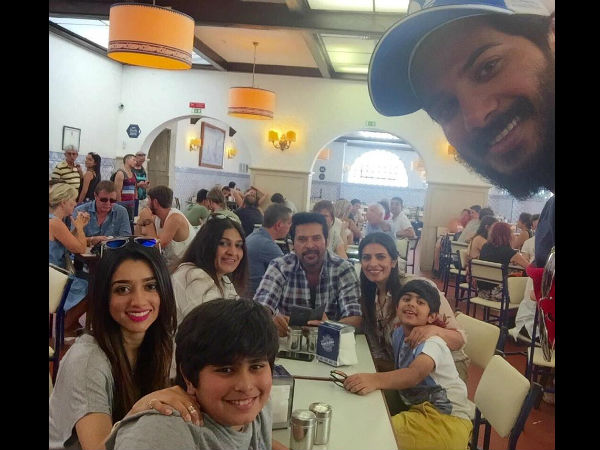 Dulquer Salmaan celebrated his 29th birthday in Lisbon, Portugal, with his entire family. Dulquer posted a groupie with his family, in his Facebook page.