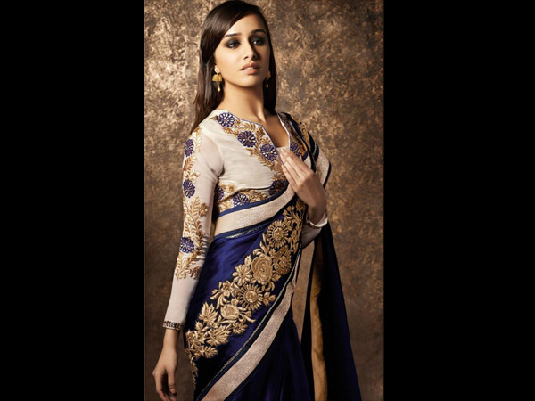 Blue Satin Party Wear Saree