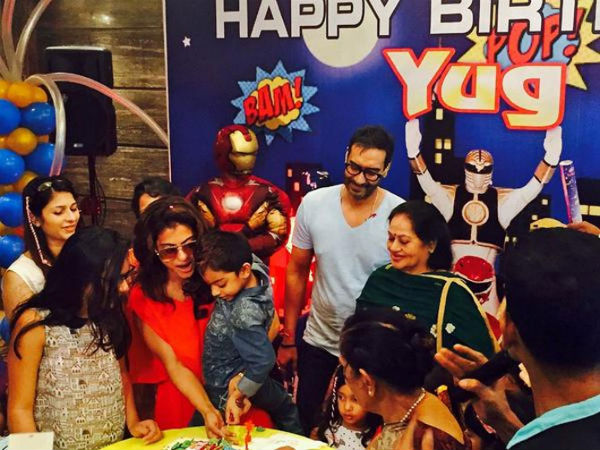 Kajol ajay devgn celebrating son yug birthday filmibeat thecheapjerseys Choice Image