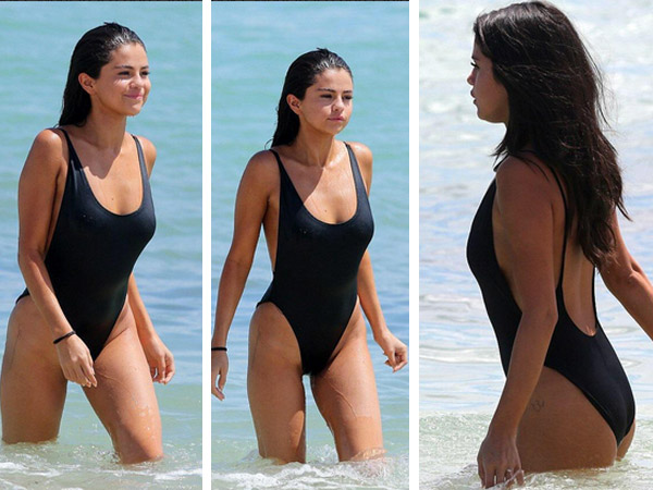 selena gomez black swimsuit