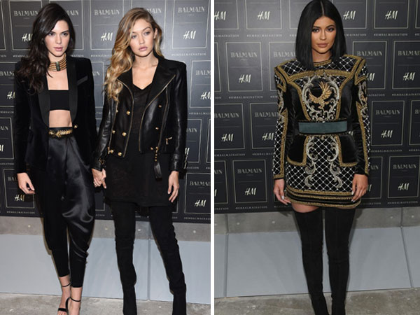 Kylie & Kendall Jenner With Gigi Launched Balmain & H&M Collaboration
