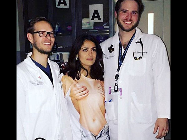 Salma Hayek Rushed To The ER After Wearing A Top That Made Her Look Naked!