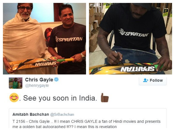 Chris Gayle Gifts His Gold Spartan Bat To Legend Amitabh Bachchan
