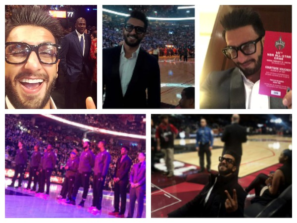NBA ALL STAR 2016! Ranveer Singh Chills With Michael Jordon, Ludacris And Ne-Yo At The Game