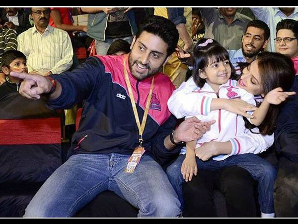 DAMN CUTE PICS: Aishwarya Rai, Aaradhya, Abhishek Bachchan Enjoying Kabaddi Match In Bangalore