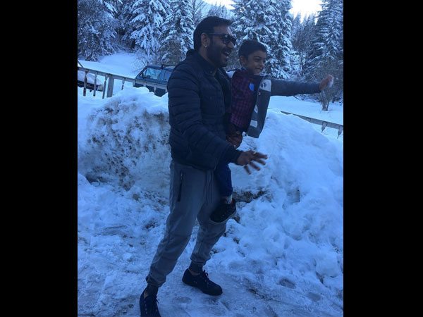 ajay devgn with son yug on the sets of shivay bulgaria pictures