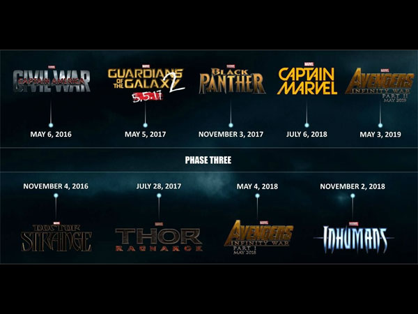 marvel movies for the next three years
