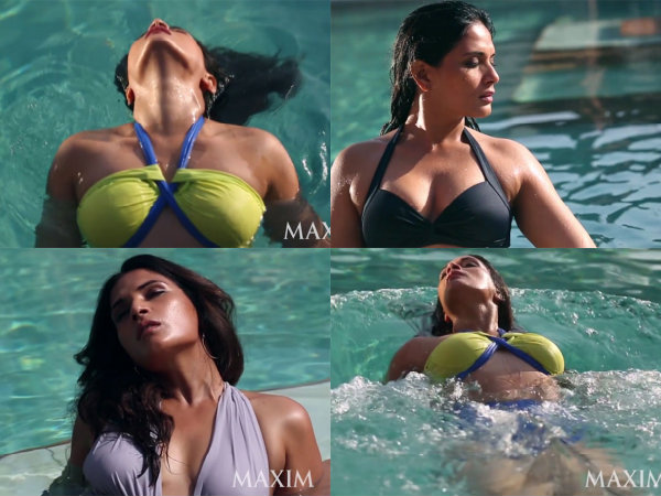 Richa Chadda Maxim Hot Bikini Pool