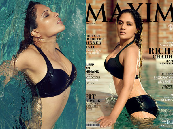 Richa Chadda Maxim Cover Page May 2016 Black Bikini