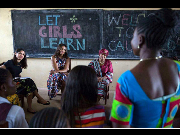 Freida Pinto Michelle Obama Let Girls Learn Initiative Monrovia