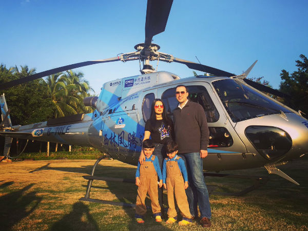 Celina Jaitley Enjoys A Private Chopper Ride With Her Family In China!