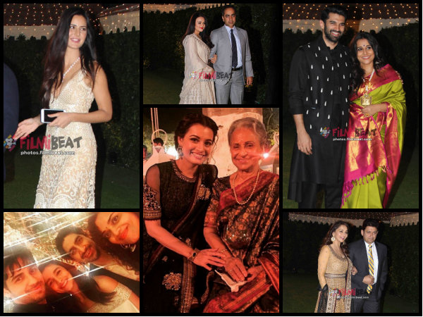 OH MY! Katrina, Preity, Madhuri, Dia, Alia, Sidharth & Others Attend A Wedding Reception [Pictures]