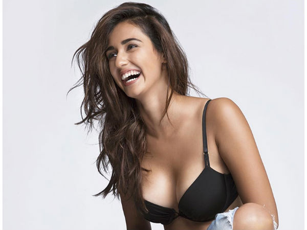 Disha Patani Hot Smile Laugh Black Bra