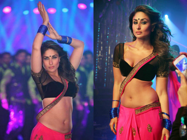 Kareena Kapoor Hot Blouse Saree Pink