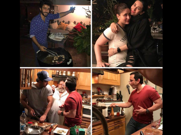 In Pictures: Ranbir Kapoor & Saif Ali Khan Flaunt Their Cooking Skills; Kareena & Karisma In Awe!