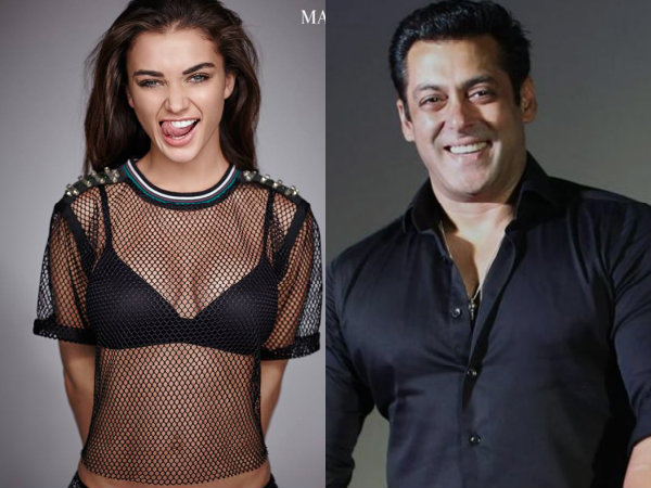 Salman Khan Amy Jackson Hot Black Netted Top Bra