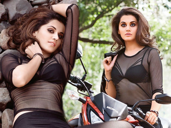 Taapsee Pannu Hot Maxim Black Bra See Thru Top Biki