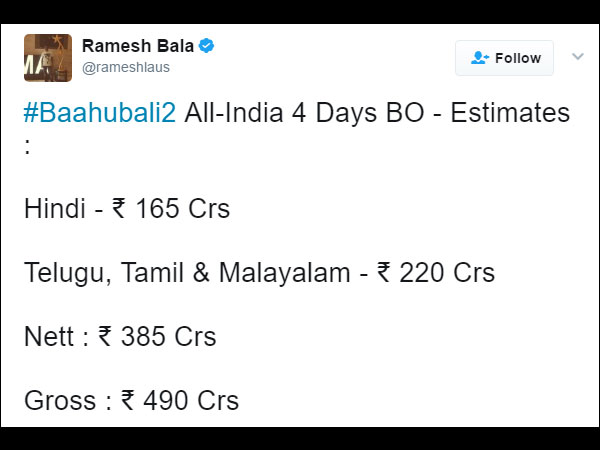 Baahubali 2 Box Office, Monday Collection, Baahubali 4 Days