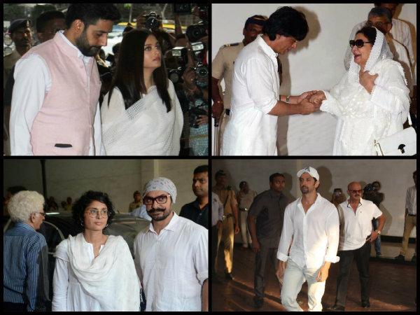 Aishwarya Rai, Abhishek, SRK, Aamir, Hrithik & Others Spotted At Vinod Khanna's Prayer Meet [Pics]