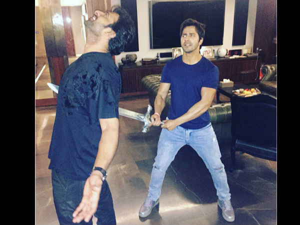 Varun Dhawan, Prabhas recreate iconic Kattapa-Baahubali moment