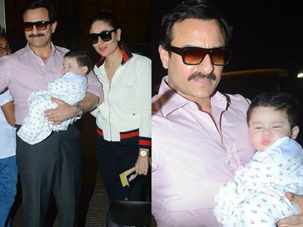 Taimur Ali Khan Looks Like Cotton Candy In The Arms Of Saif Ali Khan & Kareena Kapoor! View Pictures