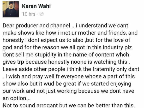 What Was Karan's Comment?