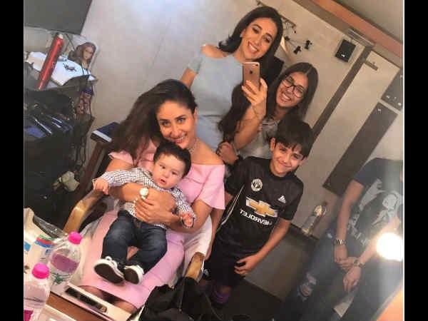VIRAL PIC! Taimur Poses Cutely With Mommy Kareena Kapoor Khan; Karisma Kapoor Captures The Moment