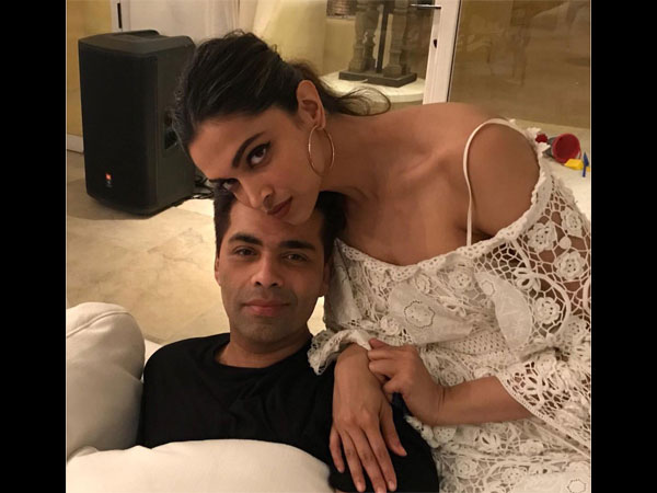 karan with deepika at srk birthday bash