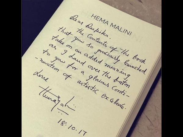 Hema Malini Deepika Padukone Biography Book Handwritten Letter Note Dream Girl