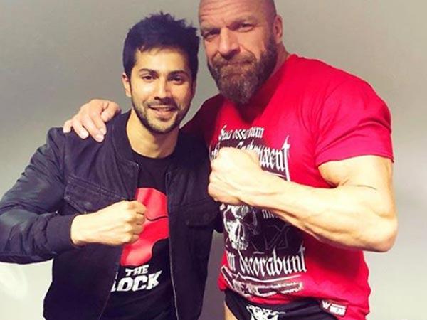 Varun Dhawan Meets WWE Stars Triple H & Jinder Mahal! View Pictures